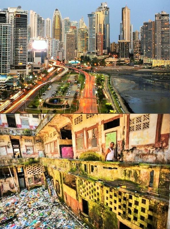 Contraste entre las ciudades de Panamá y Colón